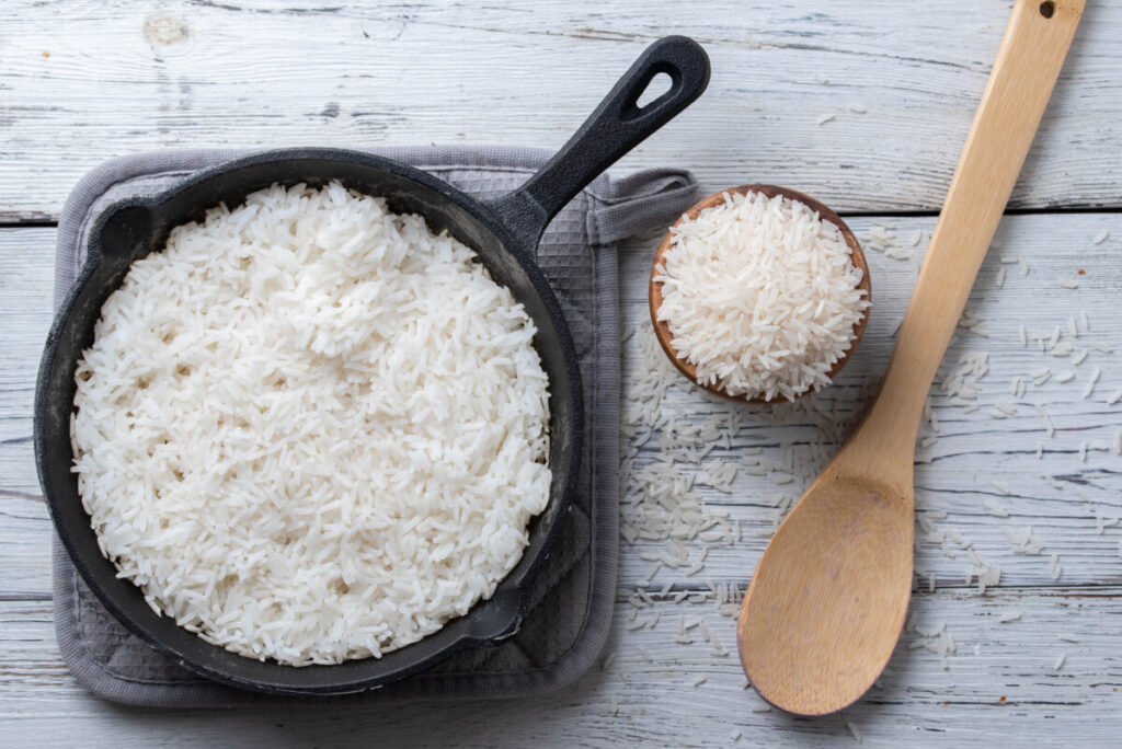 long rice cooked in skillet image